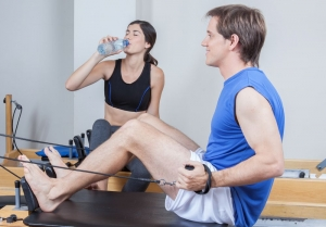 Man training in pilates